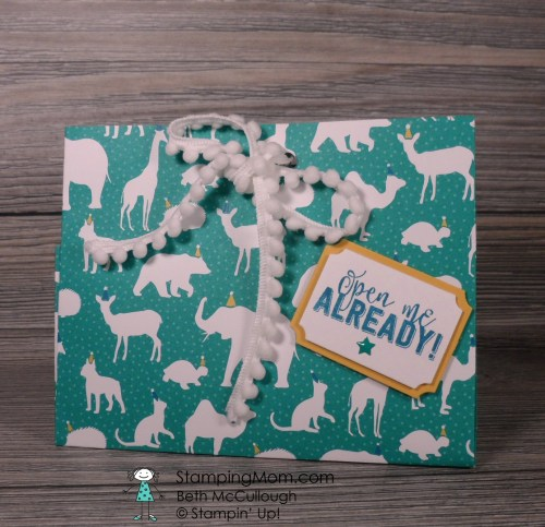 Stampin Up gift bag made with Party Animal DSP from the 2017 Occasions catalog, designed by demo Beth McCullough. Please see more card and gift ideas at www.StampingMom.com #StampingMom #cute&simple4u