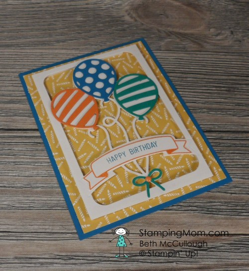 Stampin Up birthday card made with the Party Animal Suite designed by demo Beth McCullough. Please see more card and gift ideas at www.StampingMom.com #StampingMom #cute&simple4u