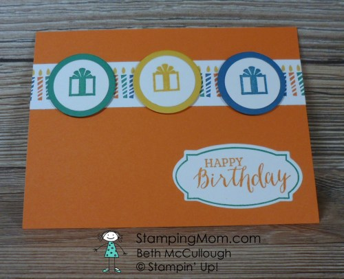Stampin Up birthday card made with the Ionic Occasions Host set from the 2017 Occasions catalog, designed by demo Beth McCullough. Please see more card and gift ideas at www.StampingMom.com #StampingMom #cute&simple4u