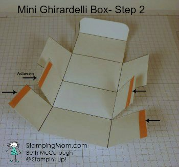 Stampin Up directions to make a Mini Ghirardelli Box-Step 2 designed by demo Beth McCullough. Please see more card and gift ideas at www.StampingMom.com #StampingMom #cute&simple4u