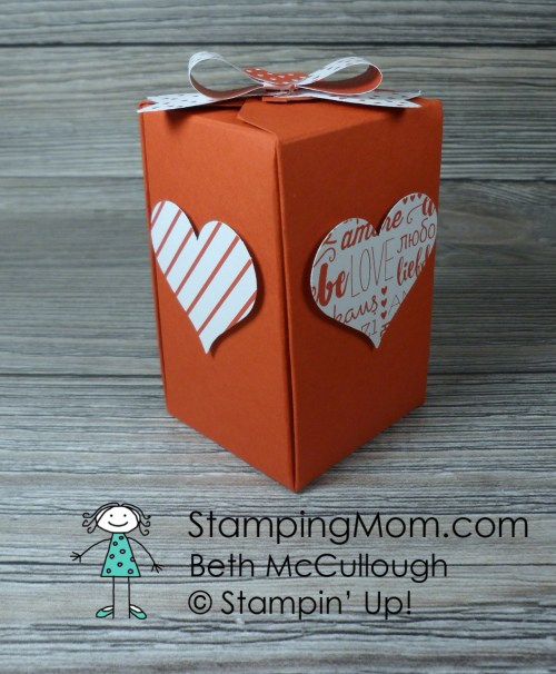 Stampin Up Reese's Valentine Heart Boxes made with the Gift Box Punch Board designed by demo Beth McCullough. Please see more card and gift ideas at www.StampingMom.com #StampingMom #cute&simple4u