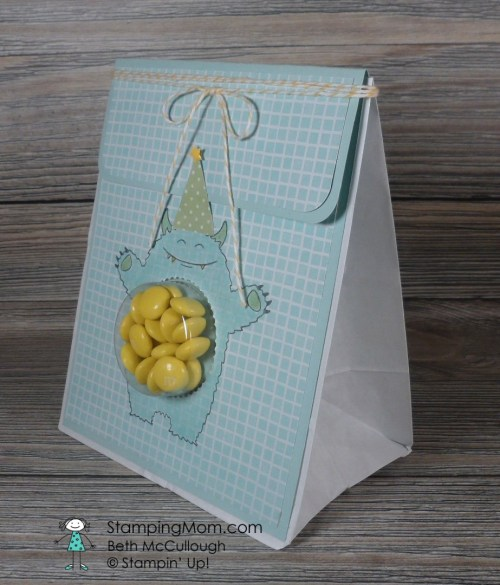 Stampin Up Yoummy in My Tummy treat bag and tag designed my demo Beth McCullough. Please see more card and gift ideas at www.StampingMom.com #StampingMom #cute&simple4u