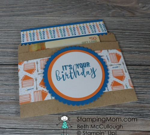 Stampin Up Birthday card with gift card package made with the Party Animal Suite from the 2017 Occasions catalog, designed by demo Beth McCullough. Please see more card and gift ideas at www.StampingMom.com #StampingMom #cute&simple4u