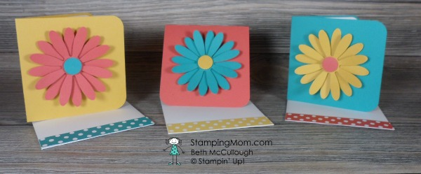 Stampin Up 3x3 card set made with the new Daisy punch designed by demo Beth McCullough. Please see more card and gift ideas at www.StampingMom.com #StampingMom #cute&simple4u