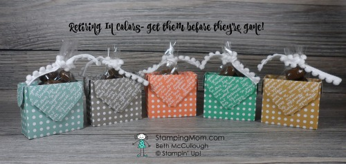 Stampin Up Dot Boxes in all five retiring In Colors designed by demo Beth McCullough. Please see more card and gift ideas at www.StampingMom.com #StampingMom #cute&simple4u
