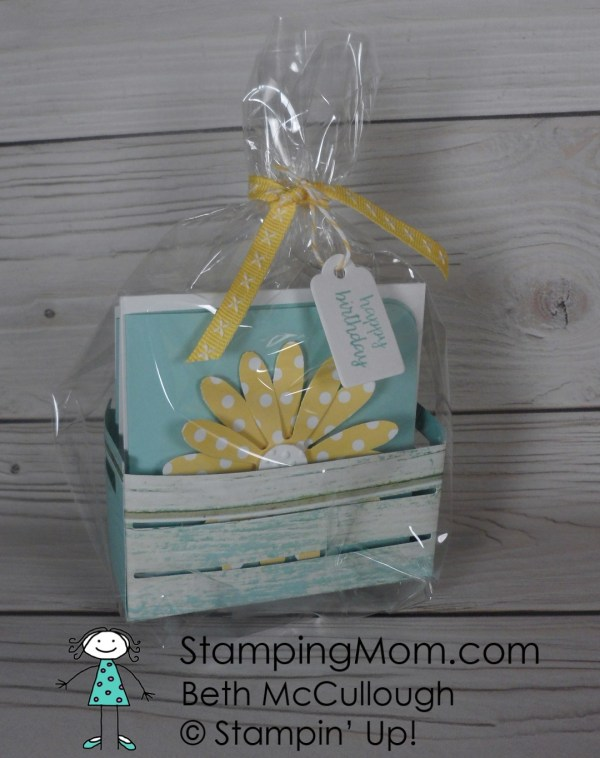 3x3 Daisy cards made with the Daisy Punch and the Wood Crate Framelit from Stampin' Up! Please see card and gift ideas at www.StampingMom.com #StampingMom #cute&simple4u