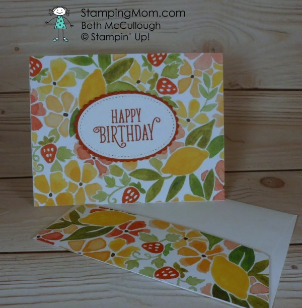 Stampin Up Birthday card designed by demo Beth McCullough. Please see more card and gift ideas at www.StampingMom.com #StampingMom #cute&simple4u