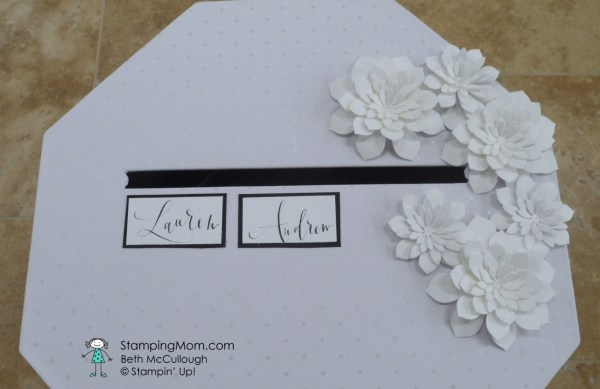 Wedding card box designed by demo Beth McCullough. Please see more card and gift ideas at www.StampingMom.com #StampingMom #cute&simple4u