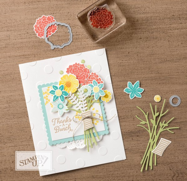 Beautiful Bouquet thank you card from the Stampin Up catalog. See more card and gift ideas at www.StampingMom.com #StampingMom #cute&simple4u