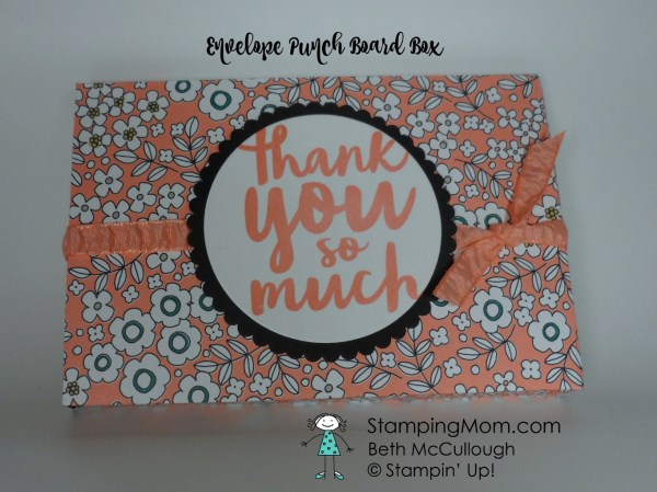 Stampin Up Notecard size Envelope Punch Board box containing three monogram notecards and envelopes. Please see more card and gift ideas at www.StampingMom.com #StampingMom #cute&simple4u
