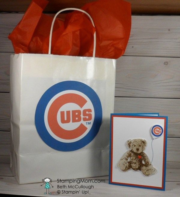 Stampin Up Chicago Cubs baby card and gift bag made with the Baby Bear stamp set, designed by demo Beth McCullough. Please see more card and gift ideas at www.StampingMom.com #StampingMom #cute&simple4u