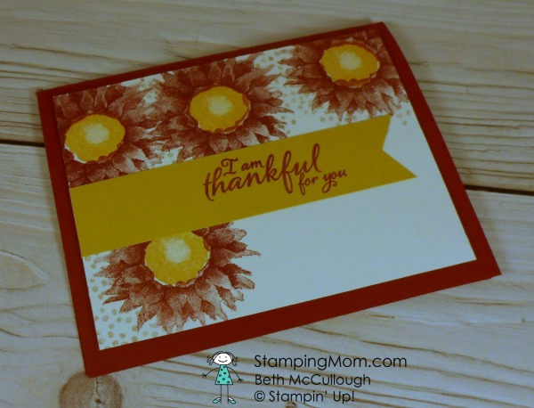 Stampin Up Clean and Simple (CAS) Painted Harvest card designed by demo Beth McCullough. Please see more card and gift ideas at www.StampingMom.com #StampingMom #clean&simple4u