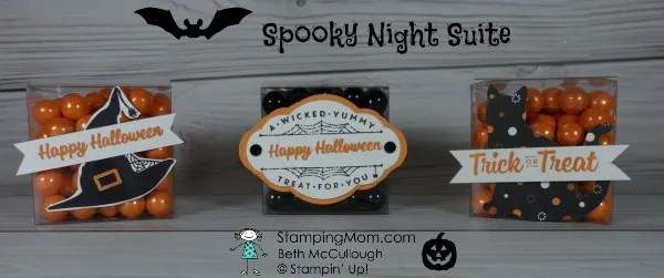Stampin Up Spooky Night Suite Halloween candy boxes designed by demo Beth McCullough. Please see more card and gift ideas at www.StampingMom.com #StampingMom #cute&simple4u