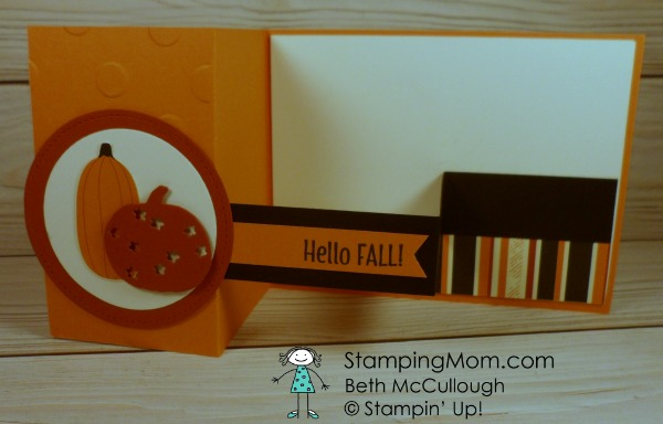 Stampin Up Patterend Pumpkins Thinlits Dies Fall card designed by demo Beth McCullough. Please see more card and gift ideas at www.StampingMom.com #StampingMom #cute&simple4u