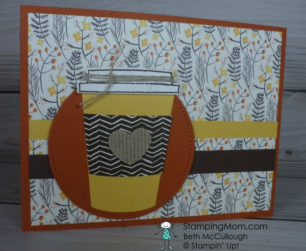 CAS Merry Cafe fall coffee card designed by demo Beth McCullough. Please see more card and gift ideas at www.StampingMom.com #StampingMom #cute&simple4u