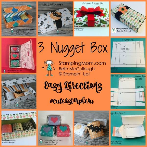 Stampin Up Nugget Boxes and directions for 3 Nugget Box and 5 Nugget Box designed by demo Beth McCullough. Please see more card and gift ideas at www.StampingMom.com #StampingMom #cute&simple4u