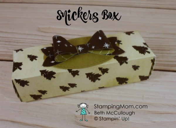 Stampin Up Snickers Box designed by demo Beth McCullough. Please see more card and gift ideas at www.StampingMom.com #StampingMom #cute&simple4u