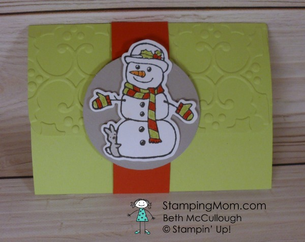 Stampin Up Seasonal Chums pop up gift card holder designed by demo Beth McCullough. Please see more card and gift ideas at www.StampingMom.com #StampingMom #cute&simple4u