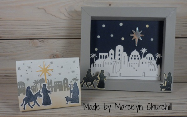 Stampin Up Night in Bethlehem frame and card made by Marcelyn Churchill. Please see more card and gift ideas at www.StampingMom.com #StampingMom #cute&simple4
