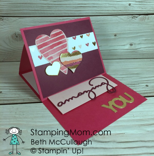Stampin Up Sure Do Love You Valentine card designed by demo Beth McCullough. Please see more card and gift ideas at www.StampingMom.com #StampingMom #cute&simple4u