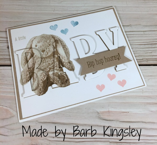 Stampin Up Baby Bunny Eclipse card made with the Sweet Little Something stamp set designed by demo Barb Kingsley. Please see more card and gift ideas at www.StampingMom.com #StampingMom #cute&simple4u