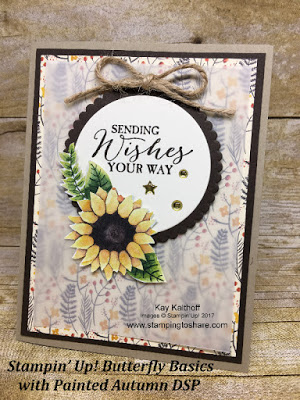 Stampin' Up! Painted Autumn Designer SEries Paper with Butterfly Basics for a gorgeous fall card. Created by Kay Kalthoff at Stamping to Share.