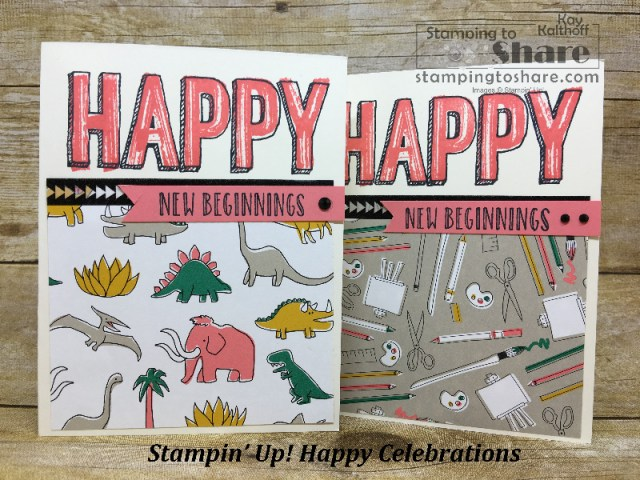 Stampin' Up! Happy Celebrations with Pick a Pattern Designer Paper. Created by Kay Kalthoff with How To Video. #stampingtoshare