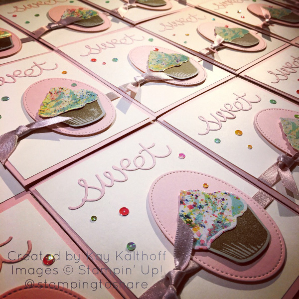 """Lots of Sweet Cupcake Cards created by Kay Kalthoff with #stampingtoshare using Brusho Crystal Colour for the """"frosting."""""""