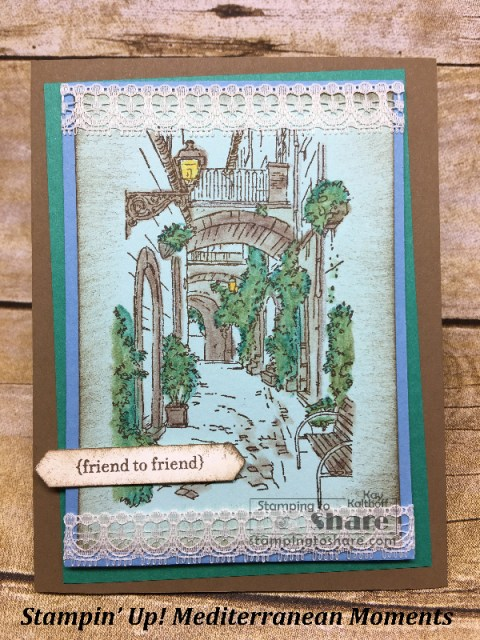 How to Use Watercolor Pencils with Blender Pens on Mediterranean Moments from Stampiin' Up! Includes How To Video. Created by Kay Kalthoff with #stampingtoshare