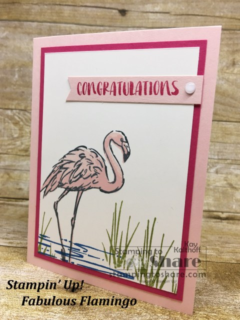 Stampin' Up! Fabulous Flamingo card created with the Stamparatus on Fab Friday Facebook Live by Kay Kalthoff for #stampingtoshare