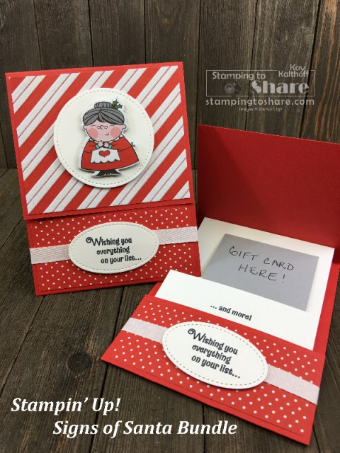 Signs of Santa Gift Card Holder on a Fab Friday Facebook Live with Kay Kalthoff at #stampingtoshare
