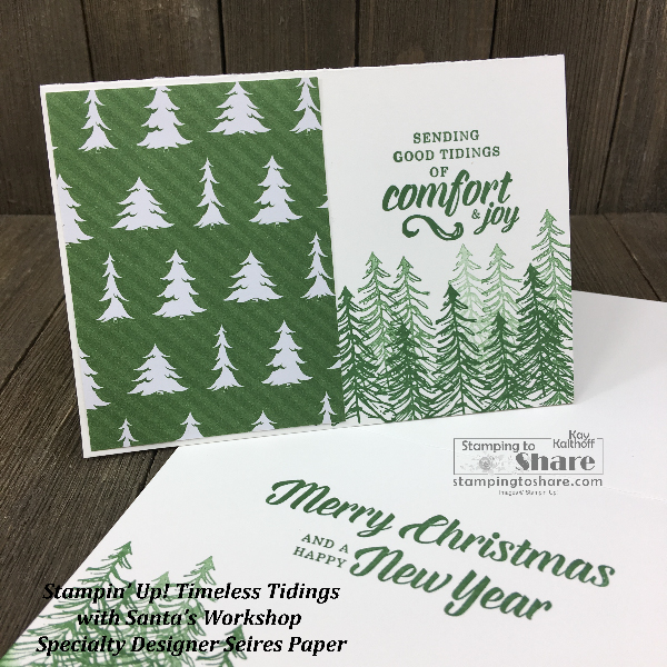 Stampin' Up! Timeless Tidings Simple Stamping with Santa's Workshop Specialty Designer Series Paper created by Kay Kalthoff for #stampingtoshare #simplestamping