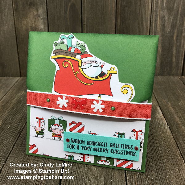 Card Holder Created by Cindy LeMire for Stamping to Share Demo Meeting Swap using Stampin' Up! Santa's Workshop Specialty Designer Series Paper #stampingtoshare