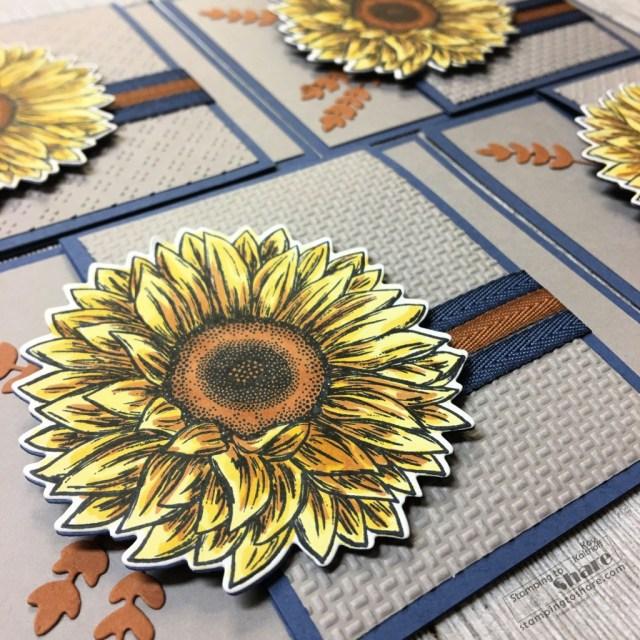 Stampin' Up! Celebrate Sunflowers in a Fun Fold Card.
