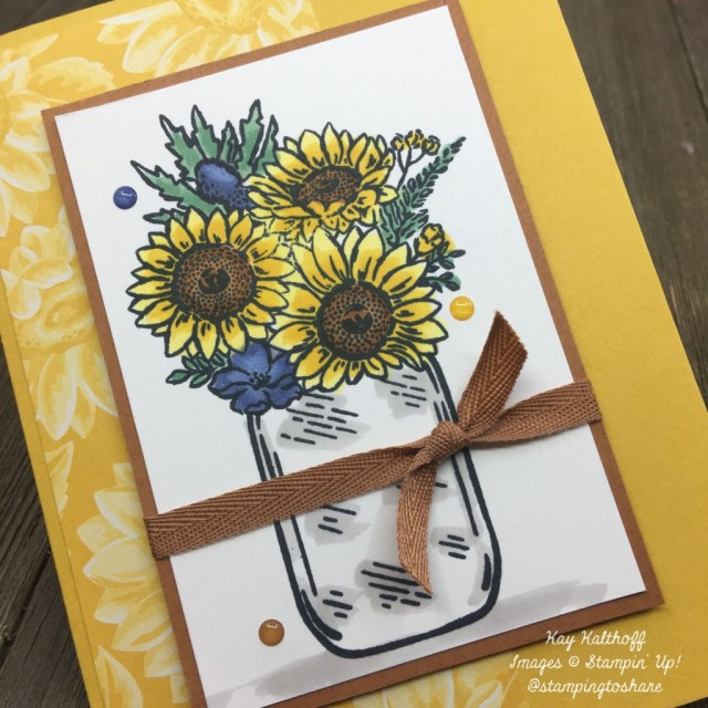 Stampin' Up! Jar of Flowers with Sunflower Bouquet colored with Stampin' Blends