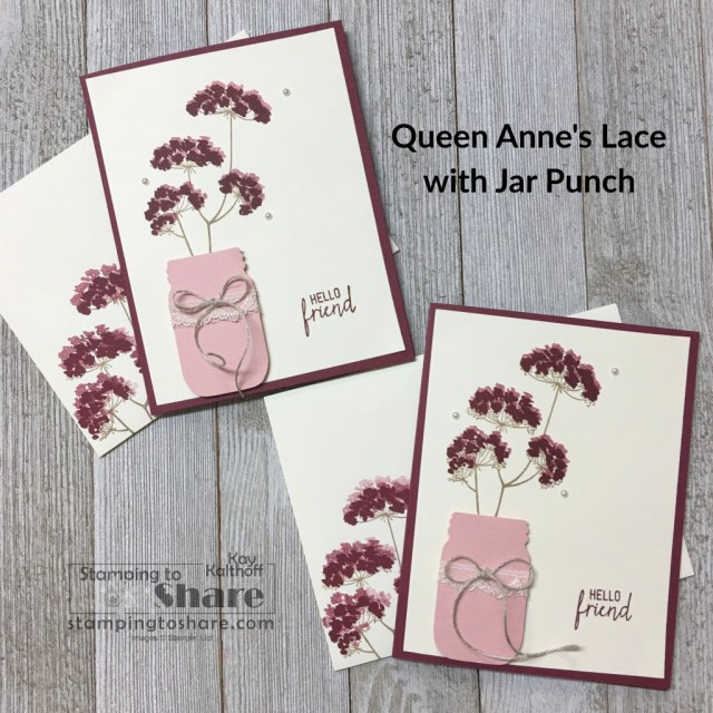 Stampin' Up! Queen Anne's Lace with Jar Punch for elegant card making by Kay Kalthoff with Stamping to Share.