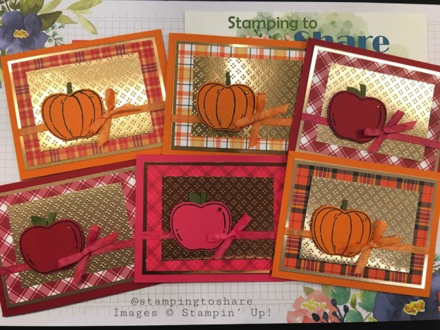 Harvest Hellos with Apple Builder Punch and Plaid Tidings Paper created by Kay Kalthoff with Stamping to Share for Fall Card Making
