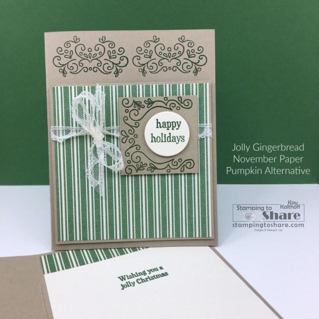 November 2020 Paper Pumpkin Kit Jolly Gingerbread an elegant alternative card.