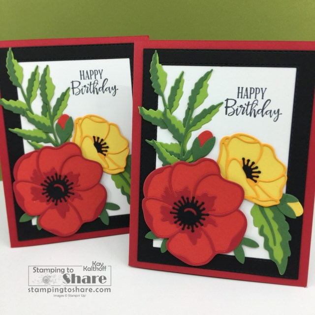 Peaceful Poppies Bundle with Poppies Dies from Stampin' Up! Top Ten Card created by Kay Kalthoff with Stampin' Up! and Stamping to Share
