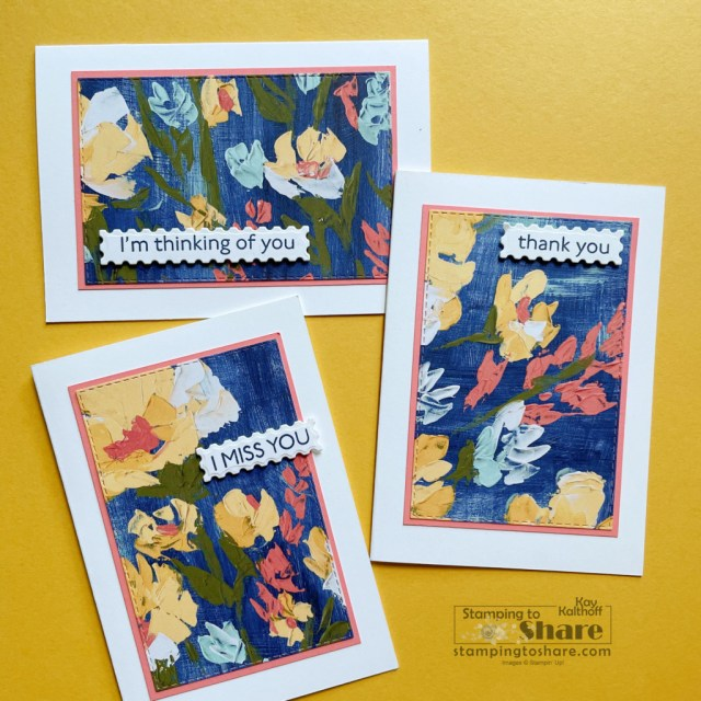 How to create quick note cards with scraps from Art Gallery Bundle card and Fine Art Floral DSP by Kay Kalthoff with Stamping to Share.