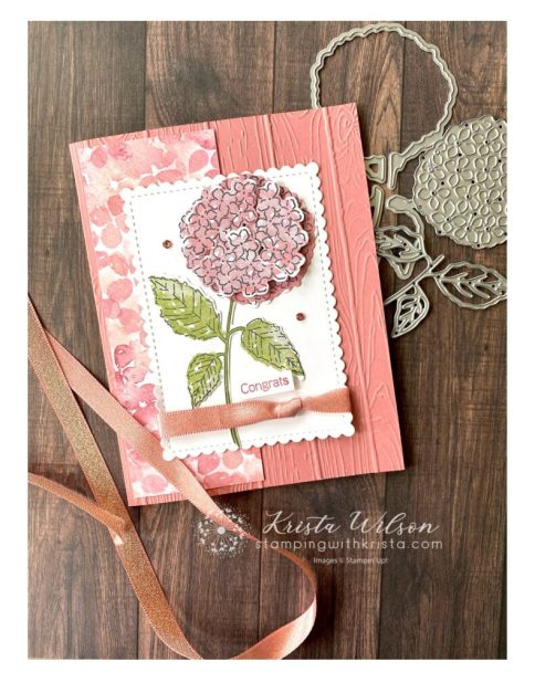 This fairly simple card is made with Hydrangea Haven Suite featuring the color (which is retiring soon) Rococo Rose.