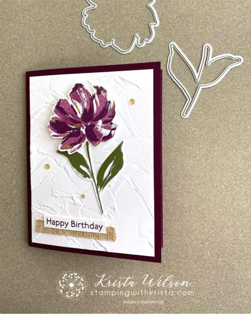 The Pretty Perennals bundle by Stampin' up! is used.