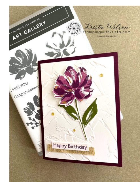 This card further uses Gilded Leafing Embellishment and Fine Art Ribbon from the Fine Art Gallery Suite Collection.  The Gold Enamel Glitter Dots further embellish this project.