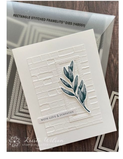 The rectangular frame is made with 2 sizes of Stitched Rectangles dies nestled together then die cut using the Stampin' Cut and Emboss machine.