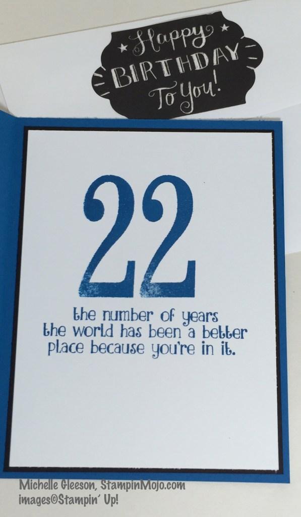 SU Number of Years, StampinMojo, Masculine Birthday card