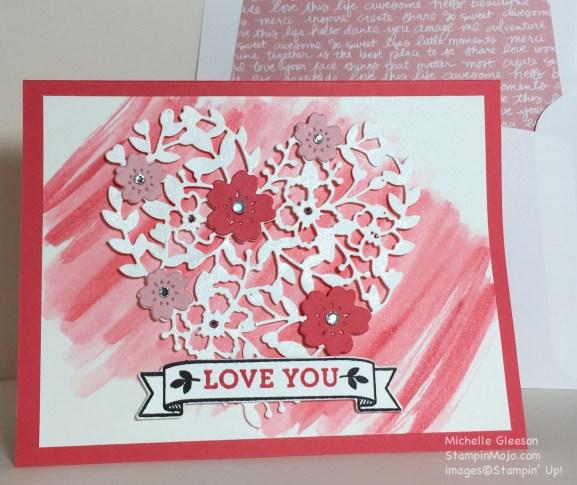 StampinMojo, Blooming Heart, Valentine Card