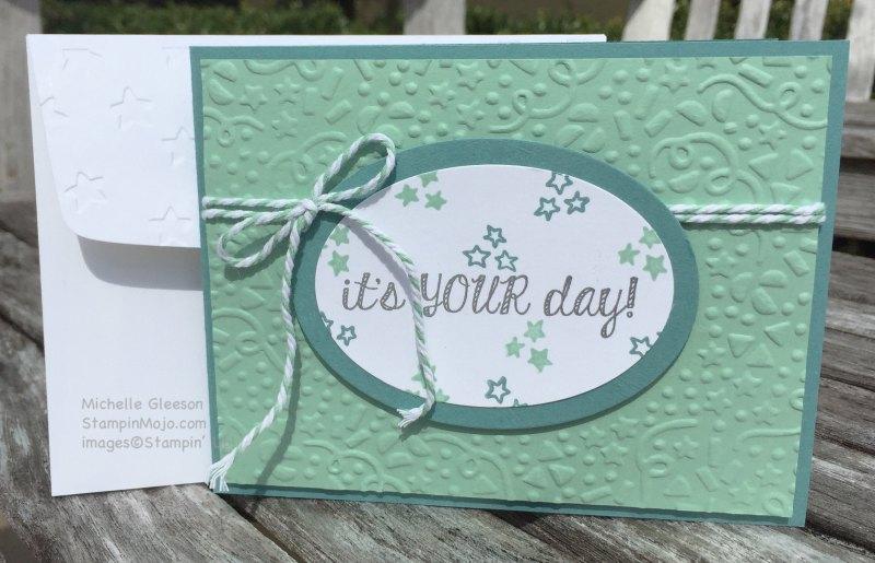 StampinMojo, Michelle Gleeson, PPA288, Confetti Folder, Birthday card