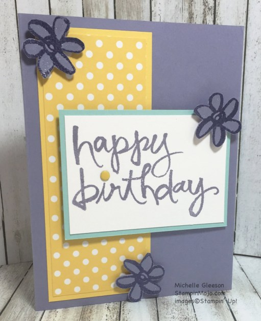 StampinMojo, Michelle Gleeson, PPA297, Watercolor Words, Birthday card