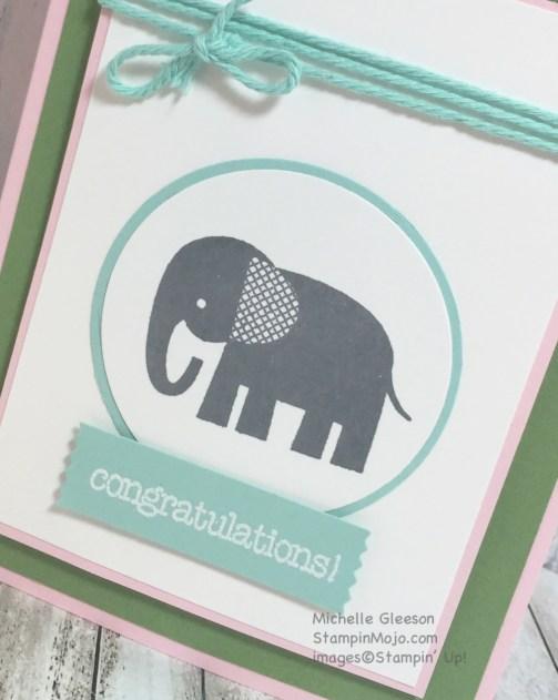 StampinMojo, Zoo Babies, Congratulations card, new baby