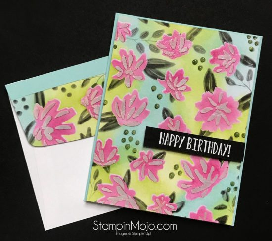 Concordand9th Floral Fill-in Stencil and DSP Stampin Up In Colors Birthday Card idea Michelle Gleeson